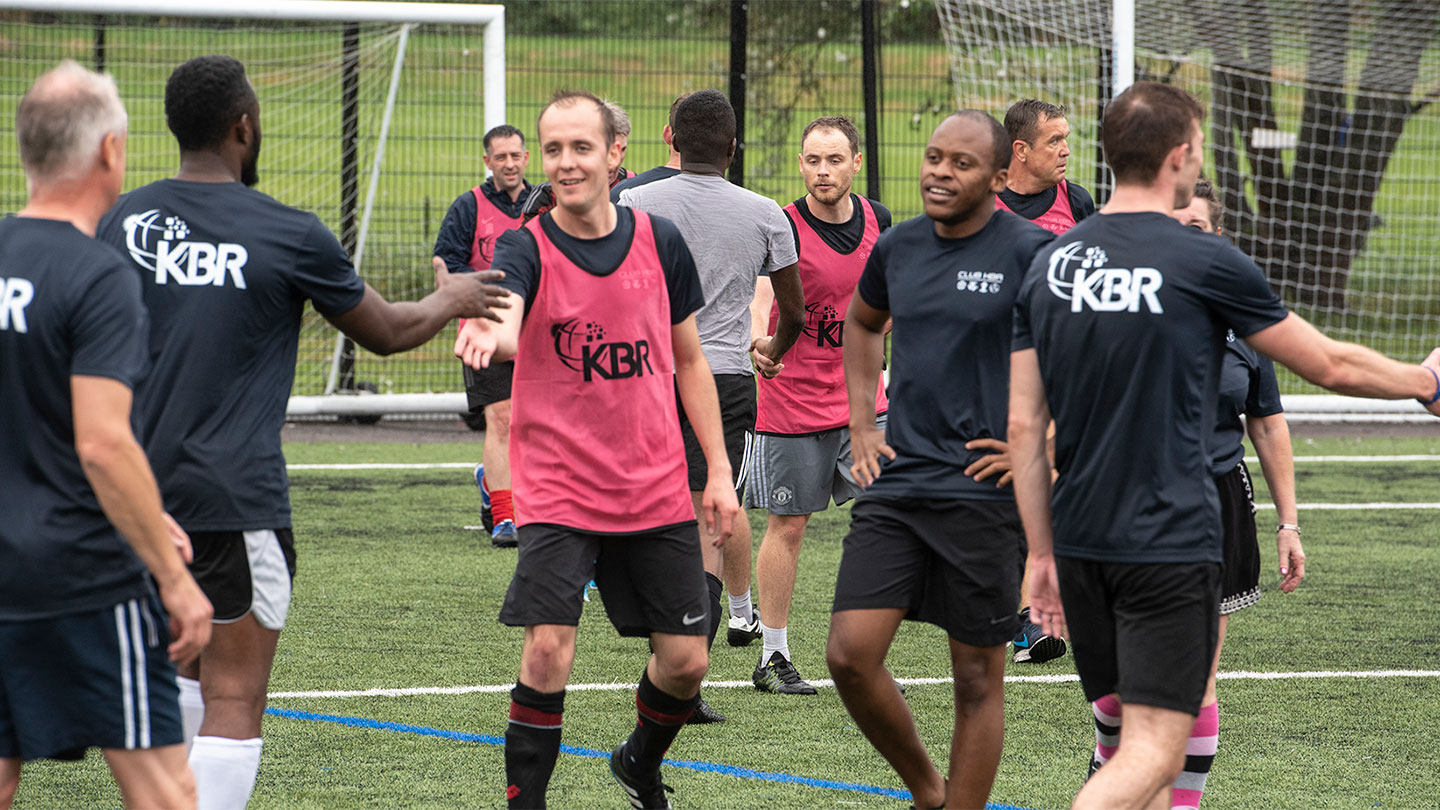 Employees in the UK Inaugural KBR Charity Football Tournament